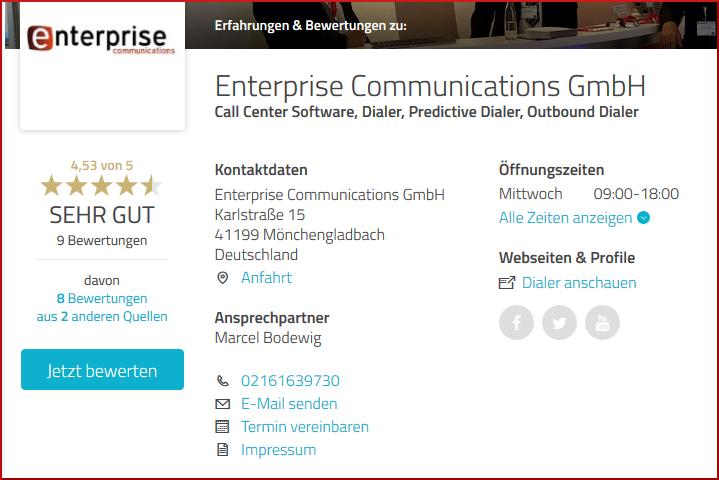 Bewertung und Empfehlung auf Provenexpert über die Enterprise Communications GmbH